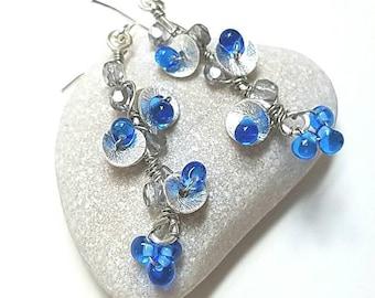 Blue earrings, wire earrings, floral earrings, blue jewelry, something blue, gift for girlfriend, flower earrings