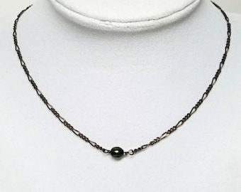 Green pearl choker necklace, simple pearl choker, thin necklace choker, dainty necklace, single pearl necklace, dainty pearl choker, ds