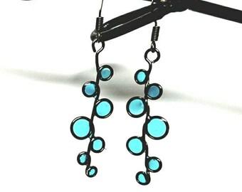 stained glass earrings, blue resin, resin jewelry, beach, ocean, blue earrings, resin earrings, bubble earrings