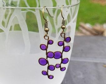 stained glass earrings, purple resin, resin jewelry, beach, ocean, purple earrings, resin earrings, bubble earrings, violet
