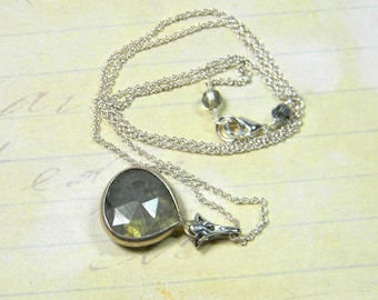 Labradorite pendant necklace with silver chain, gemstone necklace, grey labradorite, gift for her, jewelry gift, sterling necklace