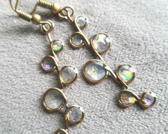 stained glass earrings, iridescent earrings, resin jewelry, beach, ocean, resin earrings, bubble earrings, uv resin, bubbles