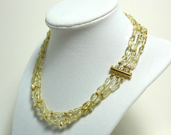 multi strand citrine and gold necklace, gemstone necklace, gold citrine jewelry, gold necklace, november birthday gift
