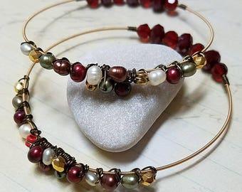 guitar string jewelry set, guitar string bracelets, gift for musician, women's guitar gift, pearl bracelet, guitar gifts for her