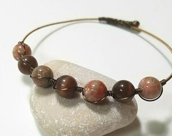 guitar string bracelet, jasper, instrument jewelry, guitar bangle, guitar bracelet, guitar gift, recycled jewelry, gift for music lover