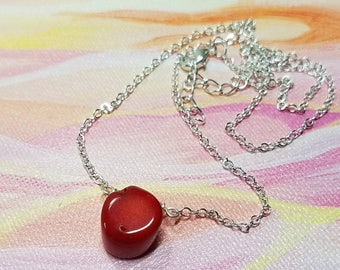 Red Coral Necklace, coral pendant, coral jewelry, focal necklace, simple, minimalist, beach jewelry