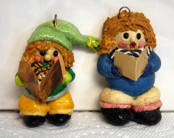 Two Carolers Salt Dough Ornaments