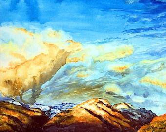 Watercolor Painting Landscape, Watercolor Painting Original, Watercolor painting on canvas, mountain landscape, landscape watercolor, skyart