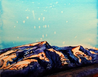 Mountain watercolor, mountain landscape, mountain wall art, landscape watercolor, moon watercolor, mountain and moon, moon painting