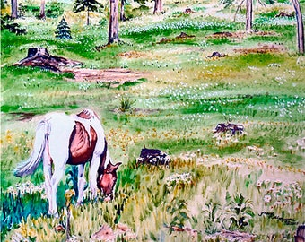 Horse print, Horse painting, Horse giclee, Equine print, Western print, Equine painting, Western painting, Equine art, watercolor art giclee