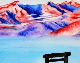 Patriotic art, Patriotic painting, Patriotic wall art, Mountain landscape art, mountain landscape painting, mountain landscape watercolor