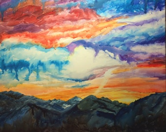Mountain Sunset Painting, mountain sunset, sunset painting, mountain watercolor painting, watercolor canvas, landscape watercolor, original