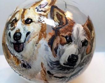 Custom pet ornament, handpainted Christmas ornament, Pet Memorial, Pet Memorial ornament, Custom Christmas ornament, custom dog ornament