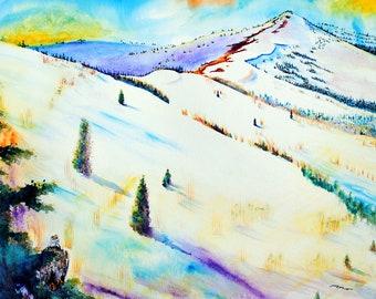 Mountain Print art, Mountain Print, Mountain Landscape print, Mountain wall art, Landscape art, landscape watercolor, watercolor of mountain