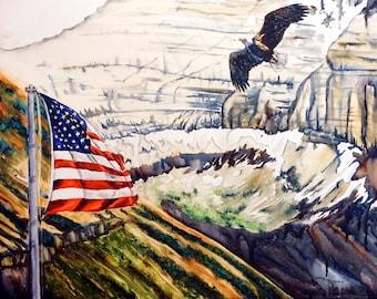 Patriotic Painting, Patriotic art, Patriotic wall art, eagle painting, mountain landscape painting, eagle art, mountain on canvas, flag art