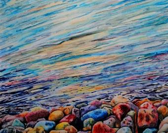 Painting of rocks, rock painting, rock wall art, Painting of water, water artwork, water painting, water watercolor, water wall art,