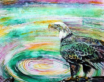 Eagle art painting, Eagle art, Eagle painting, Eagle wall art, Bird painting original, bird painting, eagle wall decor, Bald eagle art, gift