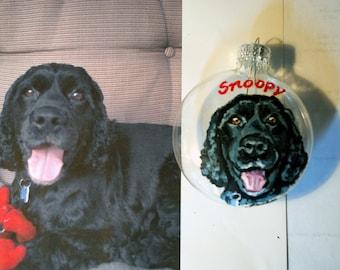Custom Christmas ornaments-hand painted ornaments-pet memorial-custom dog ornament, custom holiday ornament, your pet painted on ornament