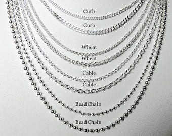 """New Solid Sterling Silver Chains Curb - Cable -Wheat -Rope - Ball- Bead - Rolo- Anchor 16"""" 18"""" 20"""" 22""""  24"""" 30"""" 36""""choose your length 925"""