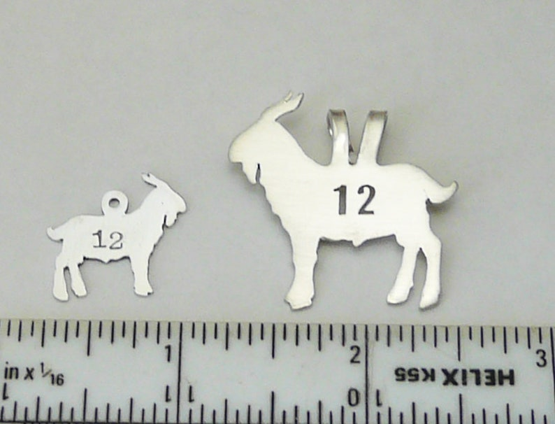 Silver GOAT #12 Greatest Of All Time Goat Pendant Sterling Silver