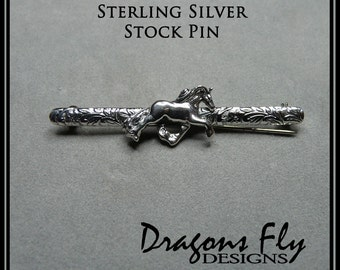 Horse Stock Pin Sterling Silver Horse Brooche Dressage Pin Stock Tie Trot Stock Pin Friesian Baroque equine Horse Jewelry Brooche Horse Pin