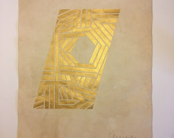 The maze within, original gold painting on paper 11 x14