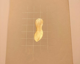Caged golden peanut, original painting on old book page