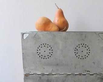rustic metal breadbox kitchen storage magnetic board pierced tin box
