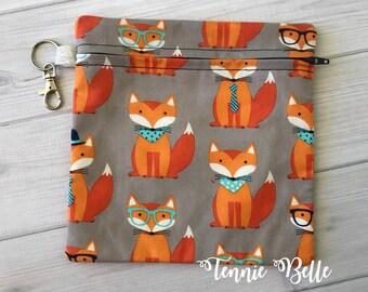 Dapper Fox Zipper Pouch, Bag, Clutch