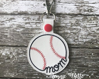 Baseball Mom in Dark Navy Keychain, Backpack, or Purse Clip