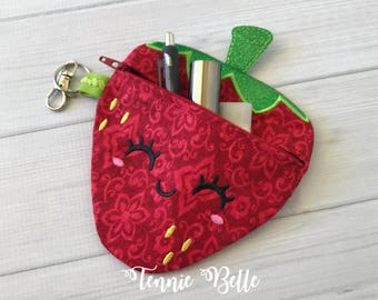 Strawberry Zipper Pouch, Bag- Accessory: Glitter