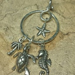 Thick Sterling Silver Charm Holder - Organic 2-Tier Circle Charm Holder Pendant for Your Own Charms - Antiqued or Shiny - Handmade to Order