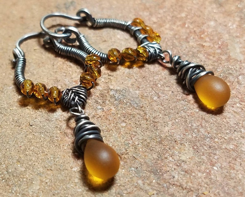 Amber Rain Sterling Silver Wire-Wrapped Hoop Style Earrings  image 0
