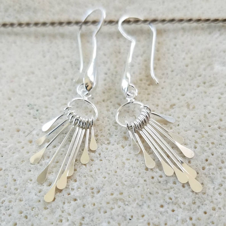 Sterling Silver Fan Earrings Long and Sparkly Handmade image 0