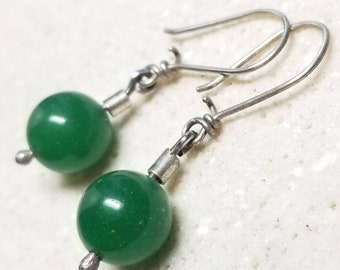 Dark Green Aventurine Earrings - Natural Aventurine Stone and Sterling Silver- Modest Drop Earrings - Handmade and Ready to Ship RTS