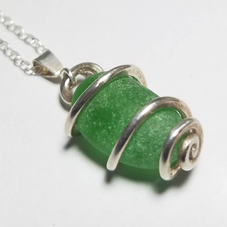 Emerald Green Sea Glass Pendant or Necklace in a Thick image 0