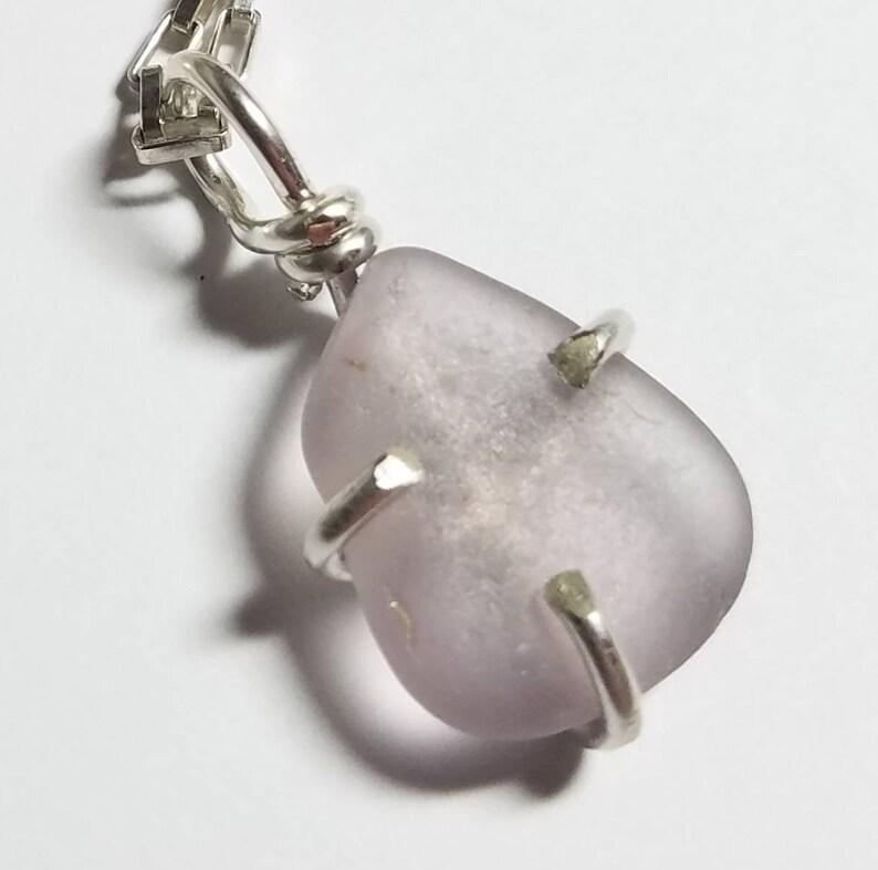 Rare Genuine Dark Lavender Sea Glass Pendant in a Thick image 0