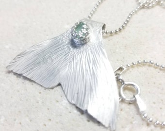 Sterling Silver Mermaid Necklace with Real Beach Tumbled Aqua Sea Glass Pendant - Unique and Handmade Fish Whale Tail - Ready to Ship RTS