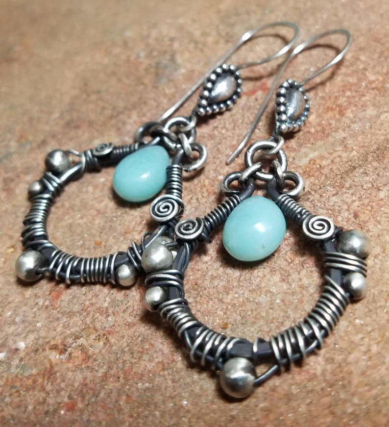 Wire Wrapped Silver Earrings  Natural Aqua Amazonite and image 0