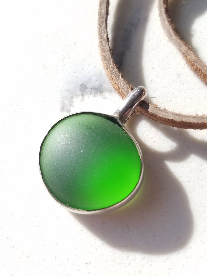 Silver and Green Sea Glass Necklace on a Suede Cord  Handmade image 0