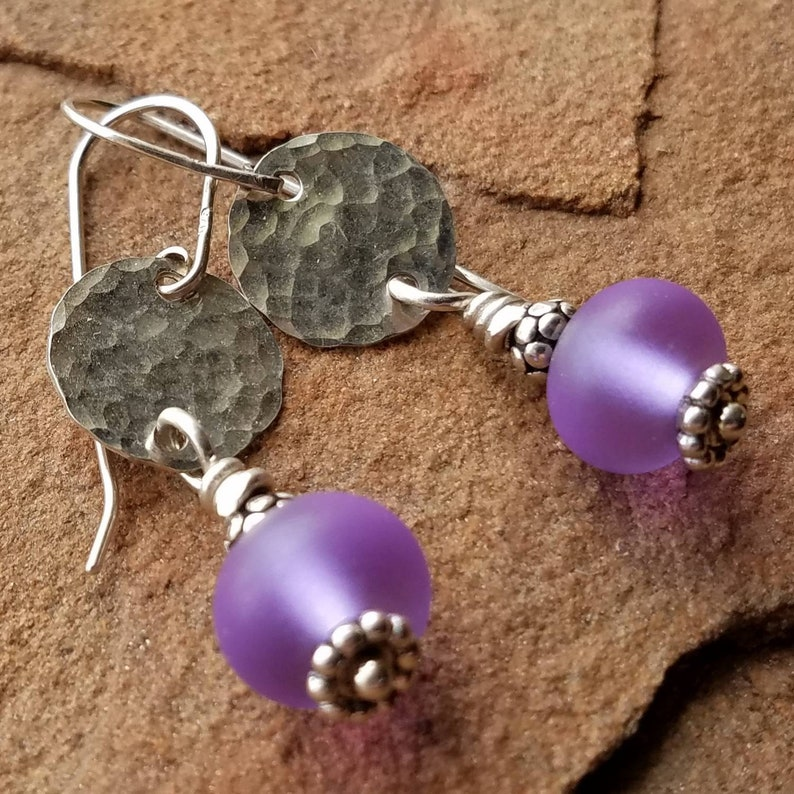 Shiny Sterling and Color Change Amethyst Purple Etched image 0