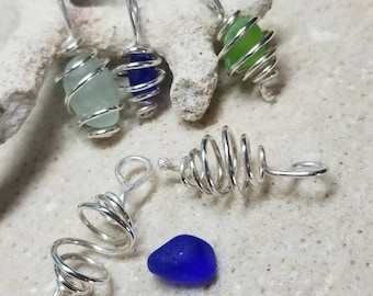 One Sterling Silver Cage Pendant for Your Sea Glass Healing Stones  Aromatherapy - Fits Small Treasures up to 10mm - Handmade Spiral Cage