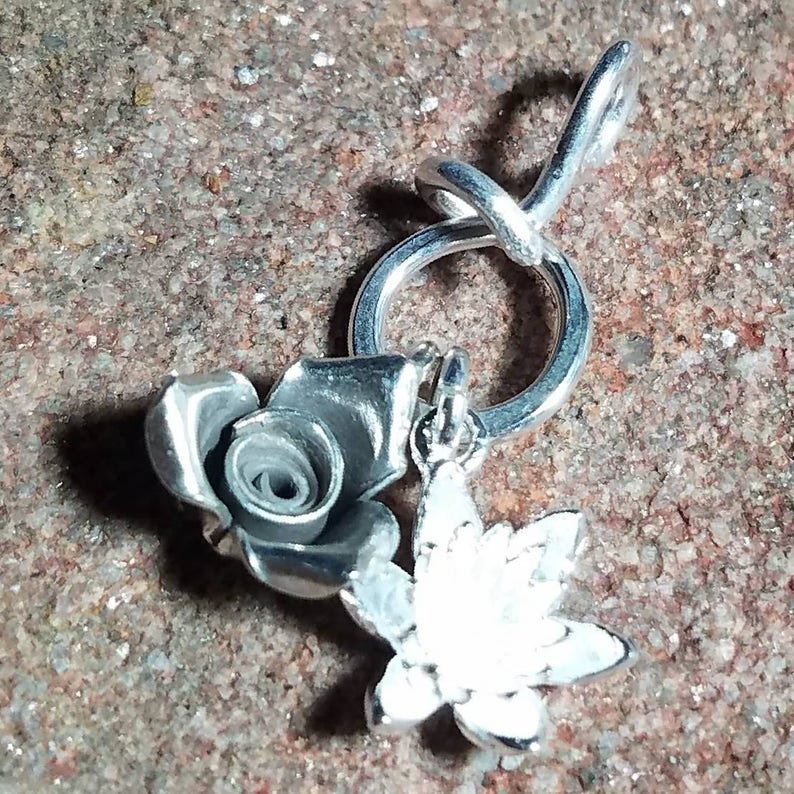 NEW Unique Very Tiny Sterling Silver Charm Holder Pendant for image 0