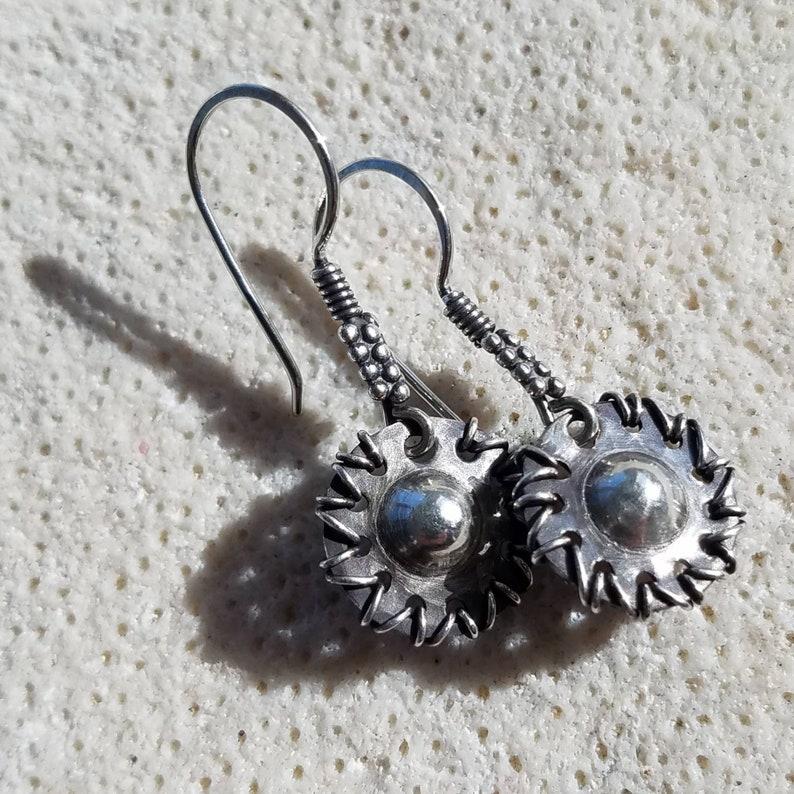 Sterling Silver Earrings  Woven Starburst Sun Earrings  image 0