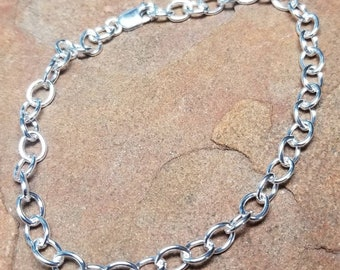 Sterling Silver Anklet - Heavy Cable Chain and Lobster Clasp - Any Size Made to Order - Adjustable Ankle Bracelet XXS-XL Silver Bracelet