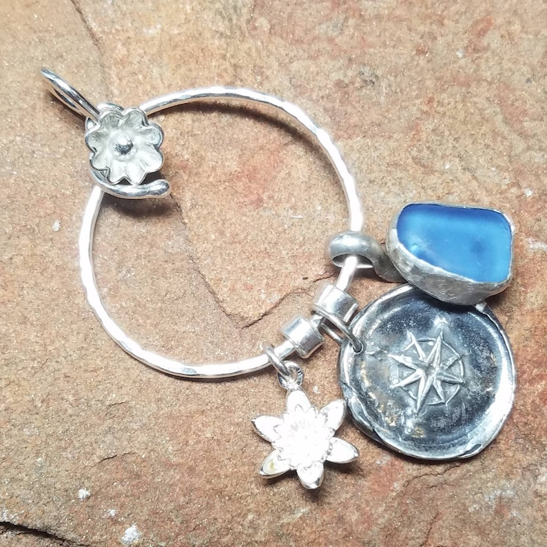 Large Circle Silver Charm Holder Pendant or Stitch Marker With image 0