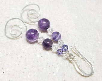 Amethyst Earrings - Long Sterling Silver, Natural Gemstones, and Swarovski Crystal Earrings Hammered Spirals and Earwires- Ready to Ship RTS