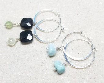 Dainty 20mm Sterling Silver Hoop Earrings Alone or with Your Choice of Gemstone Dangles - Black Onyx and Prehnite or Genuine Larimar