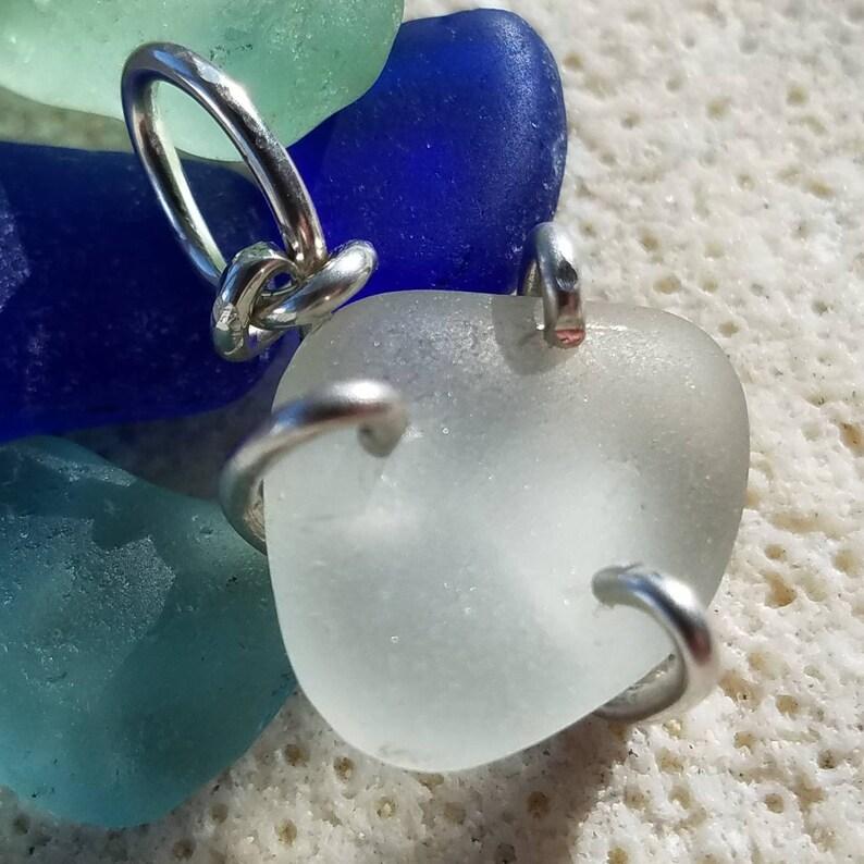 Genuine White Sea Glass Pendant in a Thick Sterling Silver image 0