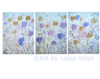 Original Painting Flowers Tulips Impasto Textured White Gold Lavender Pink Painting